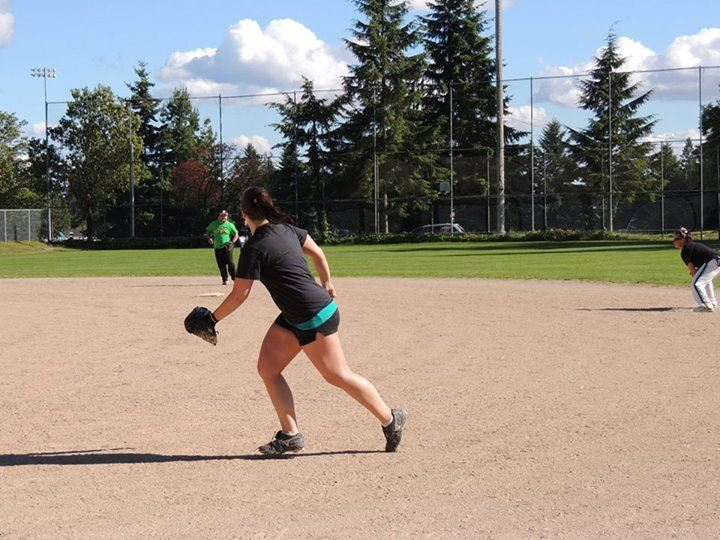 Softball Player at Evergreen Playfield Complex